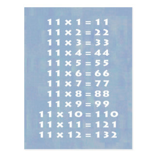11 Times Table Collectible Postcard