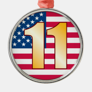 11 USA Gold Silver-Colored Round Decoration