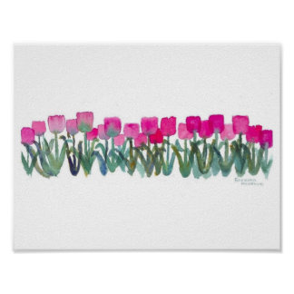 "11""x8.5"" Watercolor Pink Tulips Poster  (Matte)"