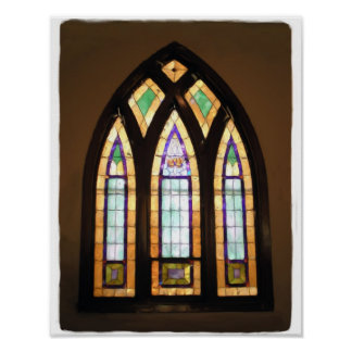 11 x 14 Arched Stained Glass Window Painting Print