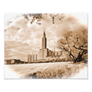 """11"""" x 14"""" infrared photograph of the LA Temple"""