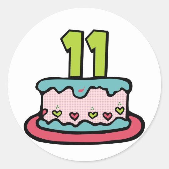 Stupendous 11 Year Old Birthday Cake Classic Round Sticker Zazzle Co Uk Funny Birthday Cards Online Elaedamsfinfo
