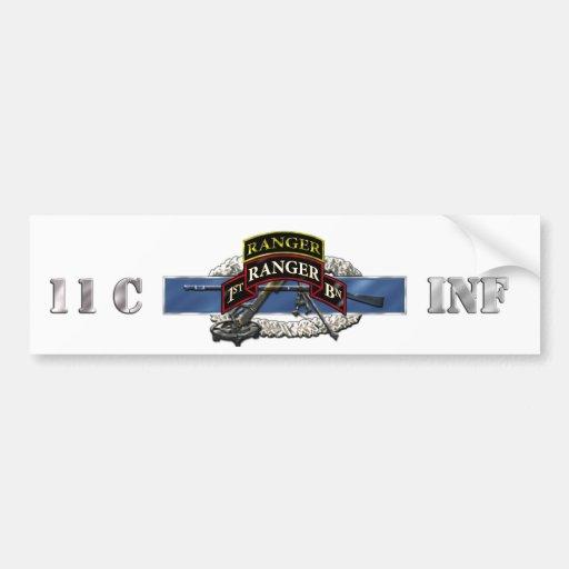 11C 75th Ranger 1st Battalion w/ Tab Bumper Sticker