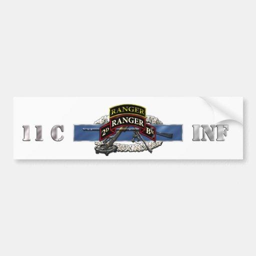 11C 75th Ranger 2nd Battalion w/ Tab Bumper Sticker
