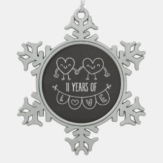 11th Anniversary Gift Chalk Hearts Pewter Snowflake Decoration