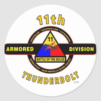 """11TH ARMORED DIVISION """"THUNDERBOLT"""" CLASSIC ROUND STICKER"""