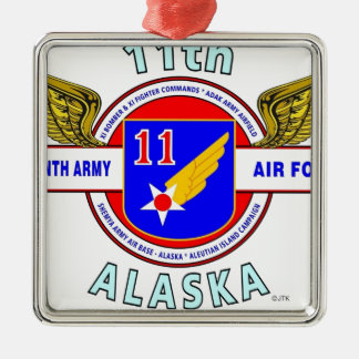 "11TH ARMY AIR FORCE ""ARMY AIR CORPS""  WW II SQUARE METAL CHRISTMAS ORNAMENT"