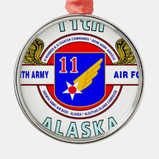 "11TH ARMY AIR FORCE ""ARMY AIR CORPS""  WW II ROUND METAL CHRISTMAS ORNAMENT"