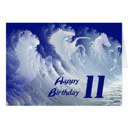 11th birthday card with wild white surf horses