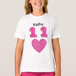 11th Birthday Girl Big Heart Custom Name V01 T-Shirt