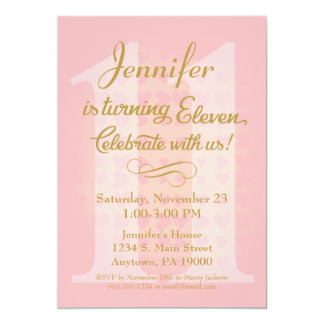 11th Birthday Invitation Girls Pink Gold Hearts