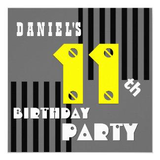 11th Birthday Modern Gray Black Stripes G4C Custom Invitations