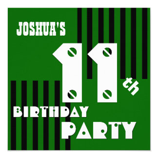 11th Birthday Modern Green Black Stripes G3D Personalized Invitation