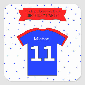 11th birthday party Custom name and thank you text Square Sticker