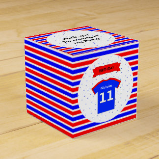 11th birthday party custom name red blue favour box