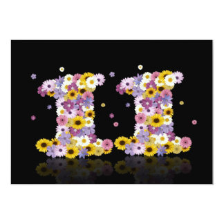 """11th Birthday party, with flowered letters 5"""" X 7"""" Invitation Card"""