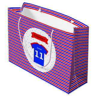11th birthday personalized red blue large gift bag