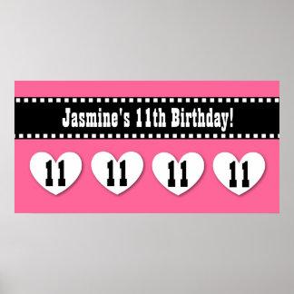 11th Birthday Pink Black Hearts Banner Custom V11H Print