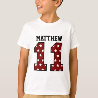 11th Birthday RED and WHITE STARS Custom Name T-Shirt