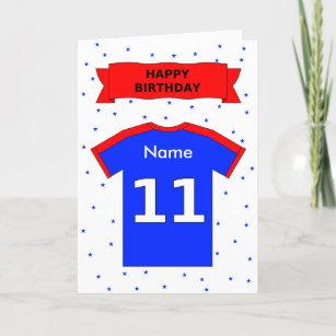 11th Birthday Red Blue T Shirt Add A Name Card