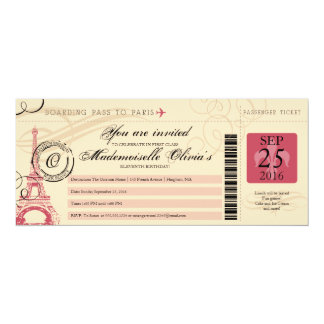 11th Birthday Vintage Boarding Pass toParis France Card