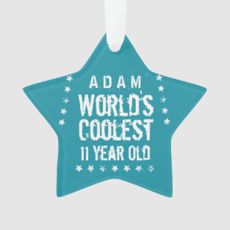 11th Birthday World's Coolest 11 Year Old Teal Z11 Ornament