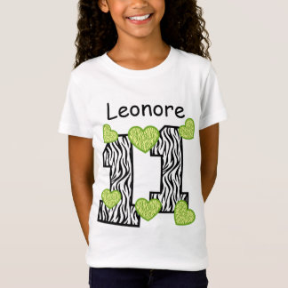 11th Birthday  Zebra Green Hearts Custom Name 4A T-Shirt
