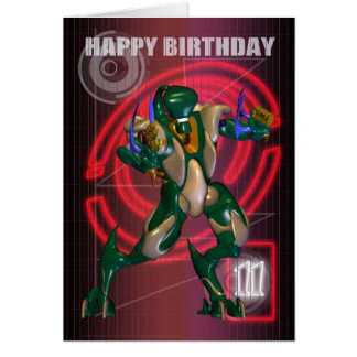 11th Happy Birthday with Robot warrior Card