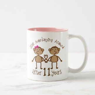 11th Wedding Anniversary Gifts Two-Tone Coffee Mug