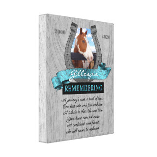 11x14 Horse Pet Memorial Photo Barn Wood Canvas Print
