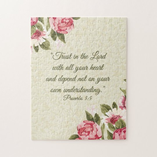 11x14 Proverbs 3:5 Scripture w/pink roses Jigsaw Puzzle