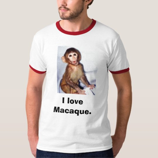 120_graphic_15macaque_infant, I love Macaque. T-Shirt
