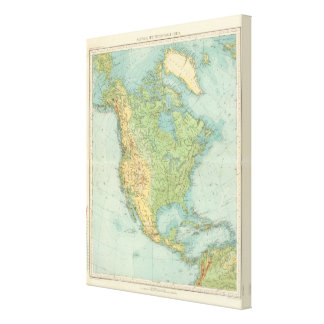 12122 North America Physical Stretched Canvas Print