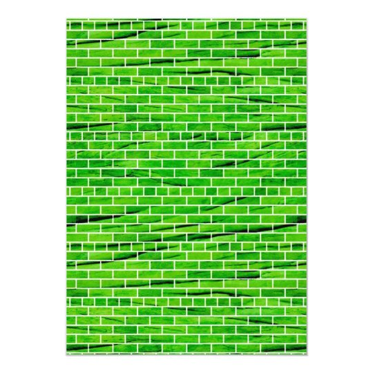 121 WRINKLED BRIGHT GREEN BRICK WALL PATTERNS BACK CARD