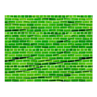 121 WRINKLED BRIGHT GREEN BRICK WALL PATTERNS BACK POSTCARD