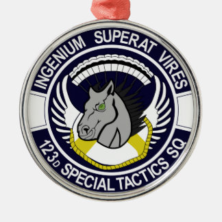 123 Special Tactics Squadron Silver-Colored Round Decoration