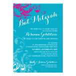 128-marnie BAT MITZVAH flourish turquoise pink Invitation