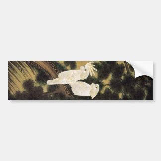 12. 老松鸚鵡図, 若冲 Pine-tree & Parrot, Jakuchū Bumper Sticker