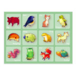 12 Animals Postcard(Customisable) -horizontal