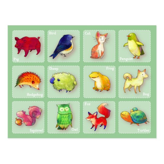 12 Animals Postcard(Customisable) -horizontal Postcard