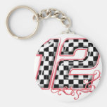 12 auto racing number basic round button key ring