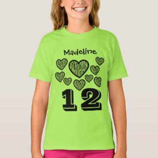 12 Birthday Girl Hearts Big Number Custom Name Q05 T-Shirt