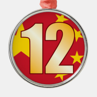 12 CHINA Gold Christmas Ornament