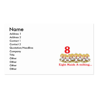 12 days eight maids a-milking pack of standard business cards