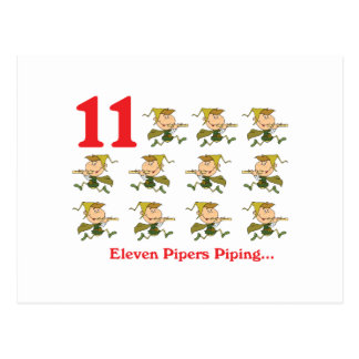 12 days eleven pipers piping postcard