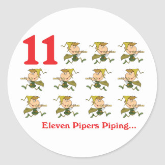 12 days eleven pipers piping round sticker