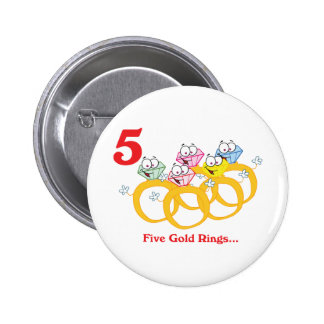 12 days five gold rings 6 cm round badge