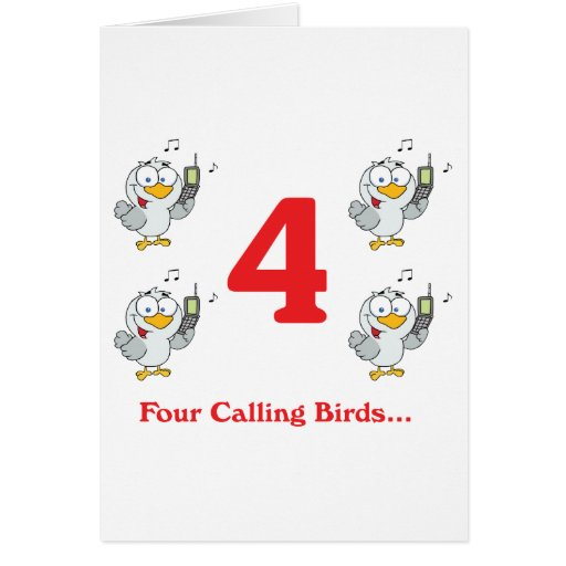 12 days four calling birds greeting cards