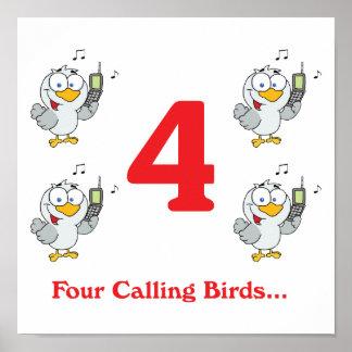 12 days four calling birds print