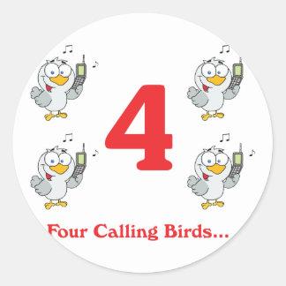 12 days four calling birds round sticker
